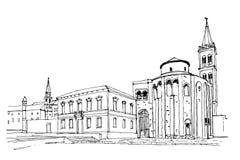 Kirche von St. Donat auf dem römischen Forum, Zadar, Kroatien lizenzfreie abbildung