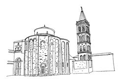 Kirche von St. Donat auf dem römischen Forum, Zadar, Kroatien vektor abbildung