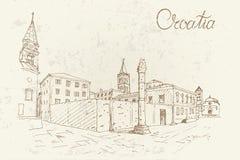Kirche von St. Donat auf dem römischen Forum, Zadar, Kroatien Retro- Art vektor abbildung