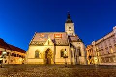 Kirche von St Mark in Zagreb Stockbild