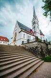 Kirche von St Martin am Bled See in Slowenien Lizenzfreies Stockfoto