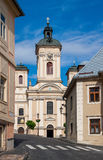 Kirche von St Mary, historische Bergbaustadt Slowakei Banska Stiavnica Lizenzfreie Stockbilder