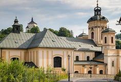 Kirche von St Mary, historische Bergbaustadt Slowakei Banska Stiavnica Lizenzfreies Stockbild