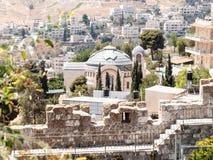 Kirche von St Peter in Gallicantu Ansicht von Zion Gate im alten Schleppseil in Jerusalem, Israel lizenzfreie stockfotografie