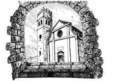 Kirche von St. Stephen Sveti Stjepan in Motovun kroatien vektor abbildung