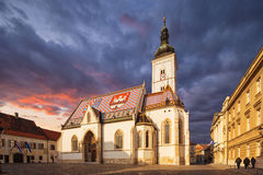 Kirche von StMark in StMark-` s Quadrat, Zagreb, Kroatien lizenzfreies stockfoto