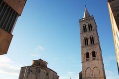 Kirche von Str Glockenturm-Kathedrale Zadar Kroatien stockfoto