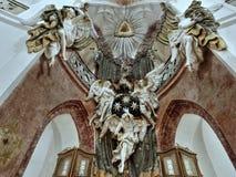 Kirche Zelena Hora, barocke Skulptur, UNESCO lizenzfreie stockfotografie