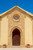 Kirchefassade in Marzamemi, Sizilien (Italien) Stockfotografie