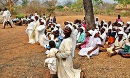 Kirchen-Abschnitt im Freien Simbabwe Mapostori Stockfotos