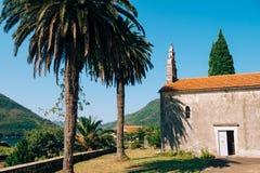 Kirchen-orthodoxe Kirche der Geburt Christi der Jungfrau in Perast, Stockfoto