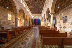 Kircheninnenansicht Barichara Kolumbien der Unbefleckten Empfängnis Stockfotos