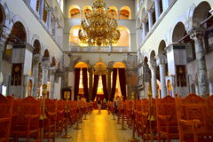 Kircheninnenraum Griechenland St. Demetrios lizenzfreie stockfotografie