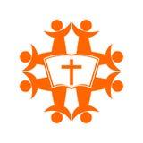 Kirchenlogo Leute vereinigt durch Glauben im Gott stock abbildung
