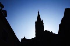 Kirchenschattenbild morgens Stockfoto