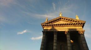 Kirchensonne und Schatten Dublin Ireland St. Audoens Stockbild