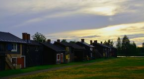 Kirchenstadt in Schweden lizenzfreie stockfotos