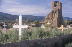 Kirchenstruktur im Taos-Pueblo-New Mexiko Stockbilder