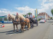 Kirchheimbolanden,Rheinland-Pfalz,Germany-06 23 2019: Holiday parade on streets of German town during Beer Festival week. Kirchheimbolanden,Rheinland-Pfalz royalty free stock image