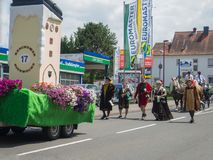 Kirchheimbolanden,Rheinland-Pfalz,Germany-06 23 2019: Holiday parade on streets of German town during Beer Festival week. Kirchheimbolanden,Rheinland-Pfalz royalty free stock photography
