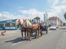 Kirchheimbolanden,Rheinland-Pfalz,Germany-06 23 2019: Holiday parade on streets of German town during Beer Festival week. Kirchheimbolanden,Rheinland-Pfalz royalty free stock photo