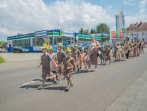 Kirchheimbolanden,Rheinland-Pfalz,Germany-06 23 2019: Holiday parade on streets of German town during Beer Festival week royalty free stock images