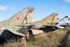 Kirchhof der alten Militärflugzeuge Stockfoto