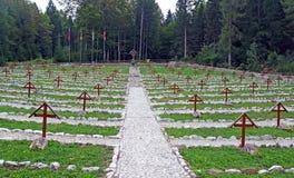 Kirchhof vom Ersten Weltkrieg mitten in dem Wald Stockbilder