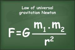 Law of universal gravitation Newton on chalkboard. Vector royalty free illustration