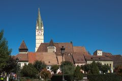 Kirchturm in den Medien, Rumänien Stockbild