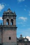 Kirchturm mit Kreuz und Glocken Stockbild