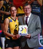VakifBank ISTANBUL WINS CEV VOLLEYBALL WOMEN CHAMPIONS LEAGUE 2018. Kirdar Gozde, left, from VakifBank Istanbul wins Best Player trophy at 2018 CEV Women stock images
