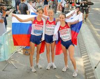 Kirdyapkina, Kaniskina and Sokolova of Russia Stock Image