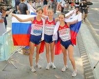 Kirdyapkina, Kaniskina and Sokolova of Russia Stock Image