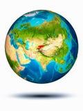Kirgisistan auf Erde mit weißem Hintergrund Stockfotografie