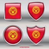 Kirgisistan-Flagge in der Sammlung mit 4 Formen mit Beschneidungspfad Stockfotografie