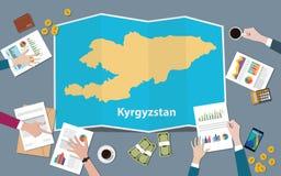Kirgistan kraju narodu wzrostowa drużyna dyskutuje z fałd map widokiem od wierzchołka ilustracja wektor