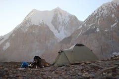 Kirgizistan - Khan Tengri (7.010 M) basläger Arkivfoton