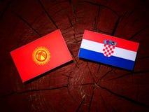 Kirgizistanflagga med den kroatiska flaggan på en isolerad trädstubbe Royaltyfri Fotografi
