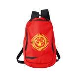 Kirgizistanflaggaryggsäck som isoleras på vit Royaltyfria Bilder