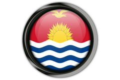 Kiribati  flag in the button pin Isolated on White Background Stock Photography