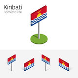Kiribati flag, vector 3D isometric flat icons. Kiribatian flag Republic of Kiribati, vector set of isometric flat icons, 3D style, different views. 100% editable vector illustration