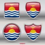 Kiribati-Flagge in der Sammlung mit 4 Formen mit Beschneidungspfad Stockfotos