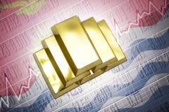 Kiribati gold reserves. Shining golden bullions lie on a Kiribati flag background Stock Photo