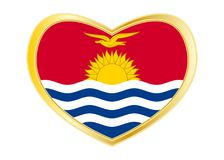 Flag of Kiribati in heart shape, golden frame Royalty Free Stock Images