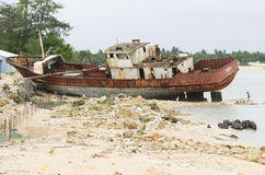 Kiribati shipwreck Royalty Free Stock Photo