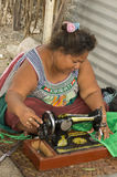 Kiribati woman sewing Royalty Free Stock Photos