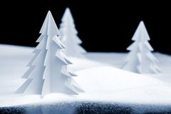 Kirigami Christmas landscape Stock Photo