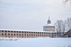 Kirillo-Belozersky monastery, Russia. Inner wall and Vologodskaya tower (17 century) of Kirillo-Belozersky monastery in winter, Russia Royalty Free Stock Photo