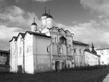 Kirillo-Belozersky monastery, Russia. Black and white photo Royalty Free Stock Images